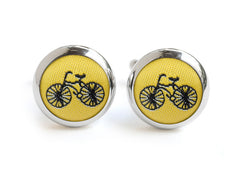 bike cufflink yellow & black