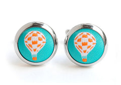 hot air balloons cufflinks teal & orange