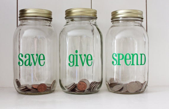 Spend, save, give jars