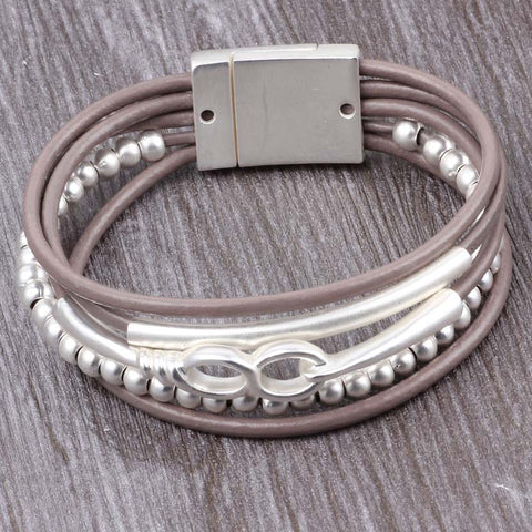 'Eternity' - Zinc Alloy Leather Bracelet