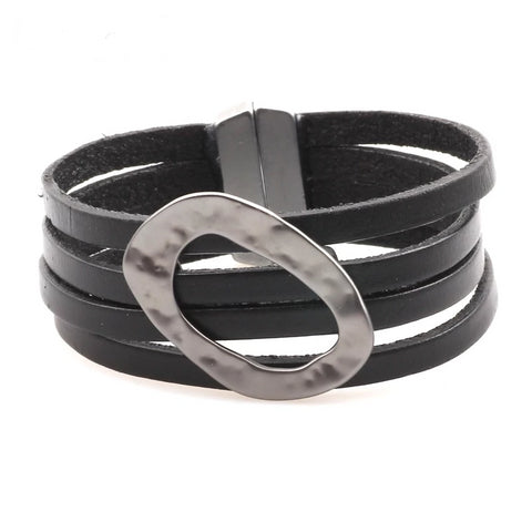 'Saturn Dreaming' - Zinc Alloy Leather Bracelet