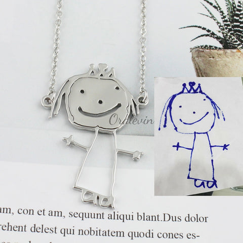'Children's Art' - Customized Children's Drawing Copper Alloy Necklace or Key Ring