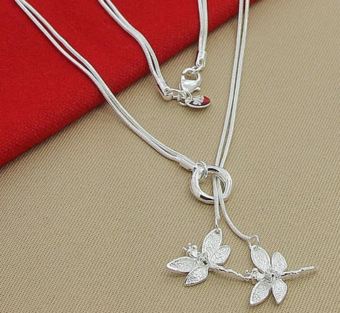 'Dragonflies' - 925 Sterling Silver Necklace