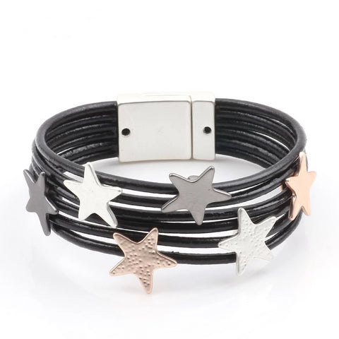 'The Stars' - Zinc Alloy Leather Bracelet