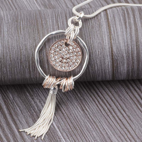 'Rhinestone Tassle' - Zinc Alloy Necklace