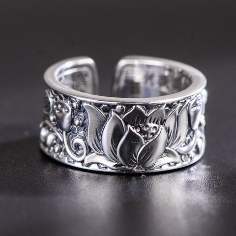 'Lotus Heart' -  925 Sterling Silver Ring