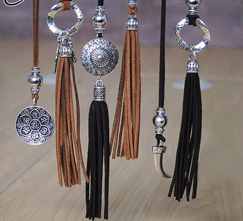 'The Leather Tassle' - Necklace