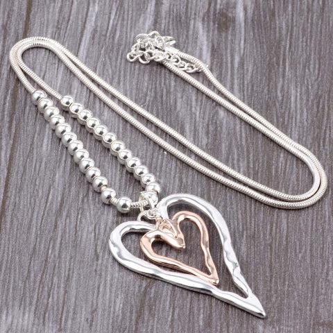 'Heart Layers' - Zinc Alloy Necklace