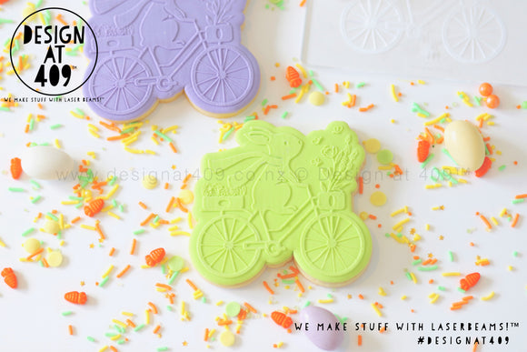 50% OFF! Bunny On A Bicycle Raised Stamp & Cutter