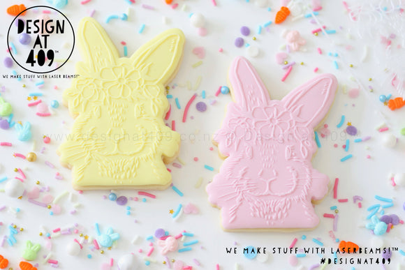 50% OFF! Bunny Floral Head Raised Stamp & Cutter
