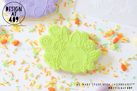 50% OFF! Bunny With Flowers Raised Stamp & Cutter