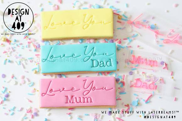Love You With Mum / Dad Stamp & Cutter Set