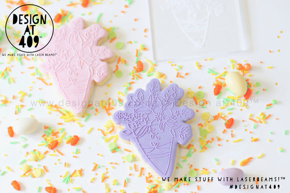50% OFF! Bunch Of Flowers Raised Stamp & Cutter