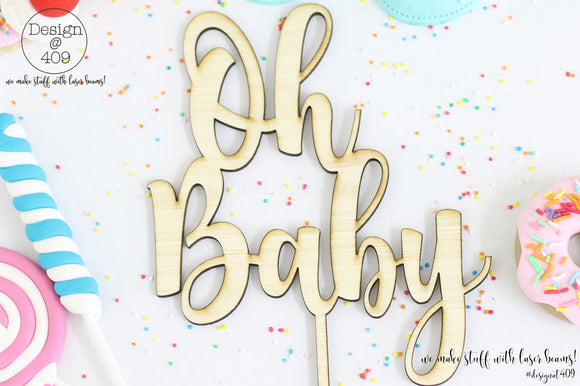 Oh Baby Cake Topper / Style #3  (other colour choices available)