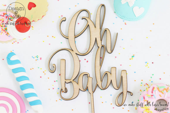 Oh Baby Cake Topper / Style #6  (other colour choices available)