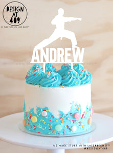 Custom Name With Karate Figure Cake Topper (colour choices)