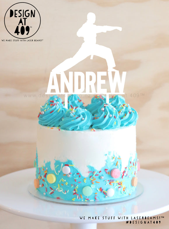 Custom Name With Karate Figure Cake Topper   (other colour choices available)