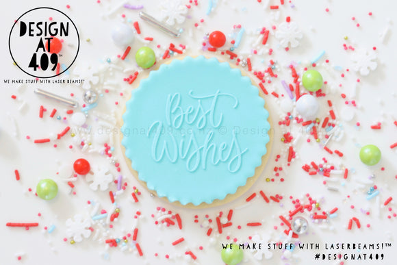 Best Wishes Raised Acrylic Fondant Stamp