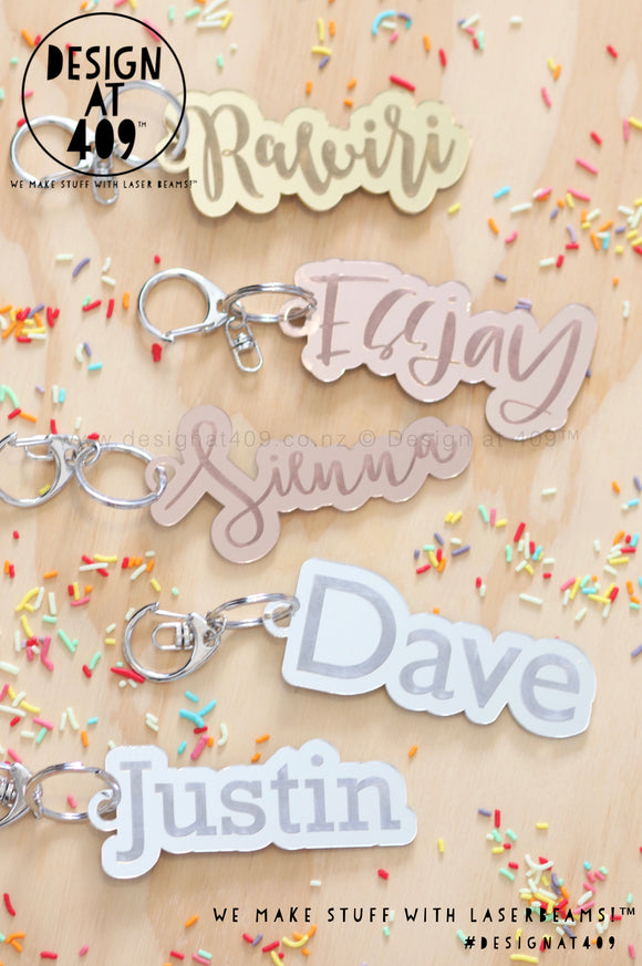 Bubble Mirror Bag Tags With Key Ring (more colour & font options)