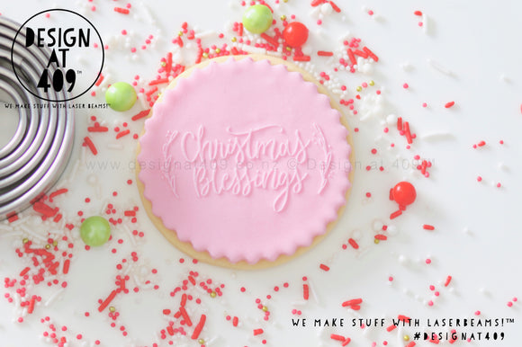 Christmas Blessings Raised Acrylic Fondant Stamp