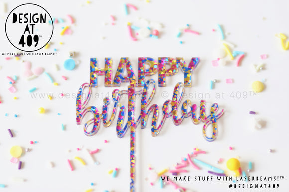 Mini Happy Birthday Cake Topper - Confetti + Glitter