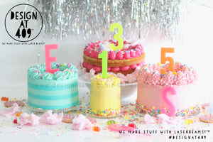 Fluro Number Cake Topper