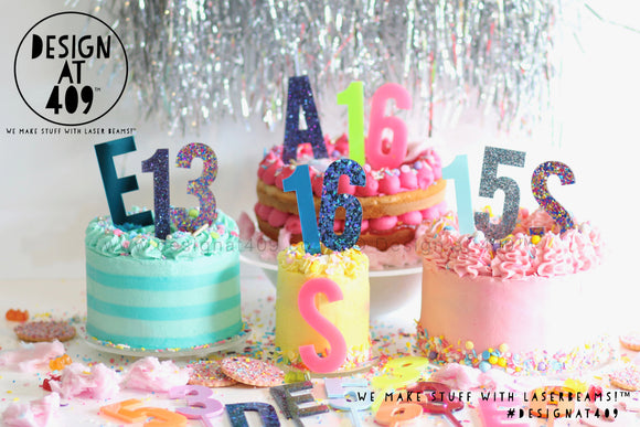 Sparkle Number Cake Topper