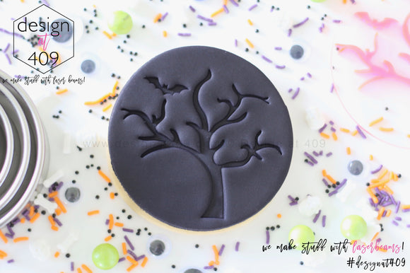Halloween Tree With Bat Acrylic Embosser Stamp