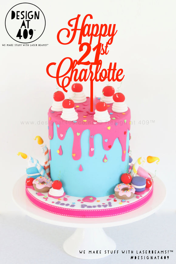 Happy Age & Name Custom Cake Topper Style #2 (colour choices)