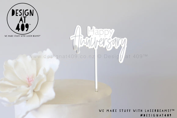 Mini Happy Anniversary Bubble Mirror Cake Topper  (other colour choices available)