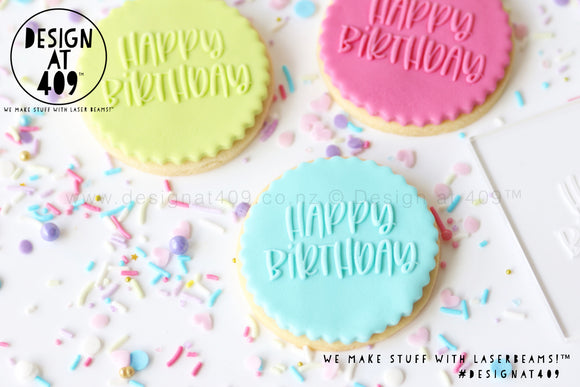 Happy Birthday 2 Raised Acrylic Fondant Stamp