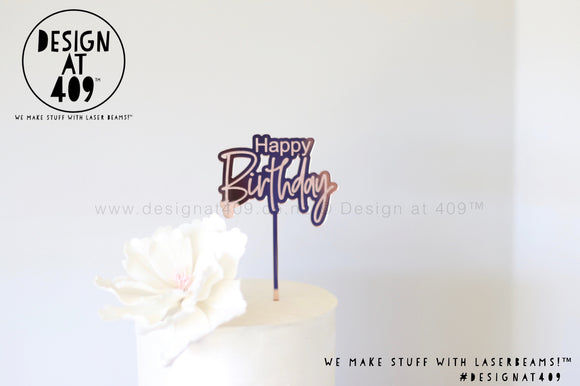 Mini Happy Birthday Bubble Mirror Cake Topper