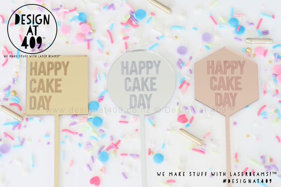 Random Mixture of Mini Happy Cake Day Etched Cake Topper