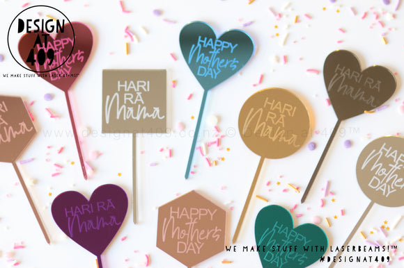 Random Mixture of Mini Happy Mother's Day / Hari Rā Māmā Etched Cake Topper