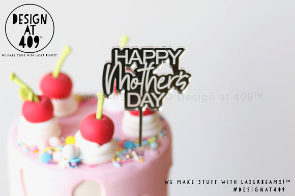 Mini Happy Mother's Day Bubble Mirror Cake Topper