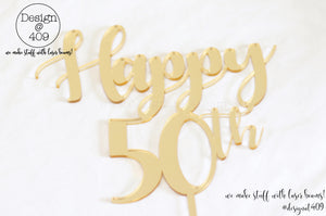 Happy 50th Cake Topper / Style #2 (colour choices)