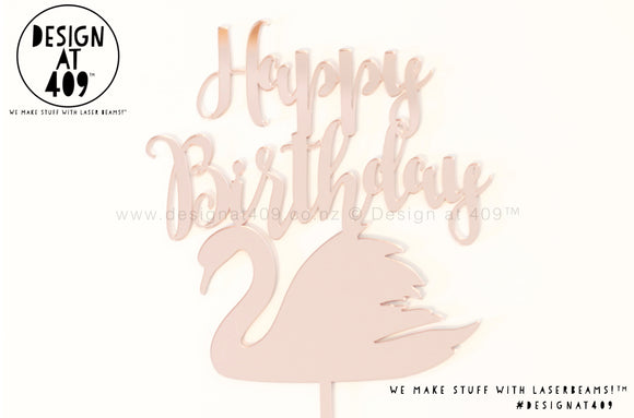 Happy Birthday With Swan Cake Topper   (other colour choices available)