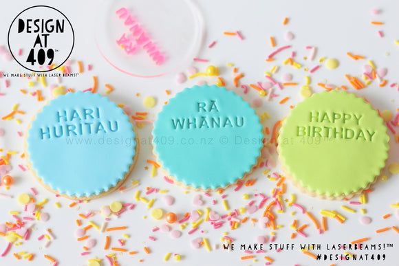 Hari Huritau or Rā Whānau or Happy Birthday With Space Acrylic Embosser Stamp