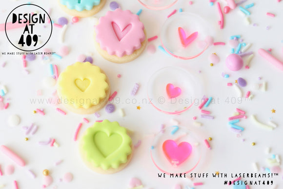 Mini Hearts Set Of 3 Acrylic Embosser Stamp