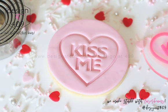 Kiss Me Candy Heart Acrylic Embosser Stamp