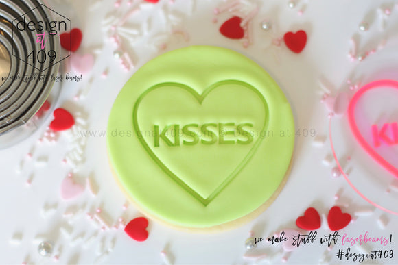 Kisses Candy Heart Acrylic Embosser Stamp