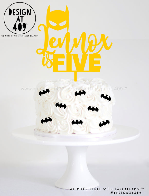 Custom Name & Age With Bat Mask Cake Topper (colour choices)