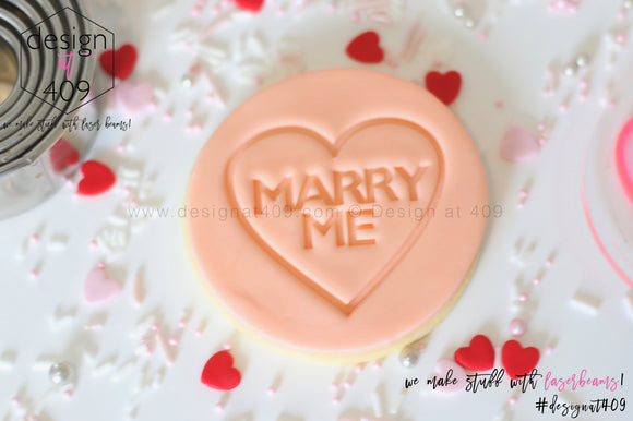 Marry Me Candy Heart Acrylic Embosser Stamp