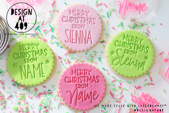 Merry Christmas From Custom Name Acrylic Embosser Stamp