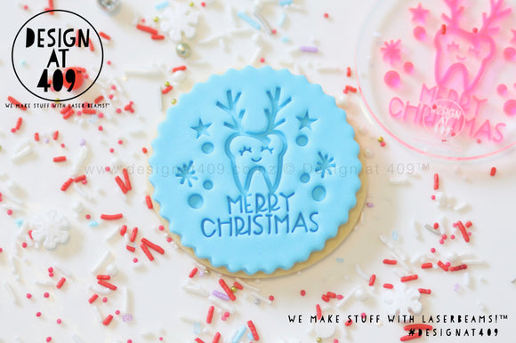 Merry Christmas Tooth Acrylic Embosser Stamp