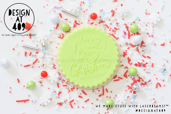 Merry Merry Merry Merry Christmas Raised Acrylic Fondant Stamp