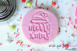 Merry Christmas With Santa Hat Acrylic Embosser Stamp