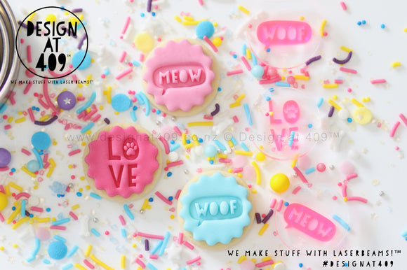 Mini Woof, Meow + Love Set Acrylic Embosser Stamp