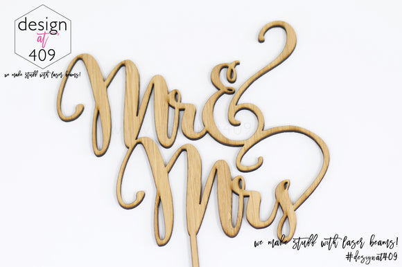 Mr & Mrs Cake Topper / Style #2  (other colour choices available)