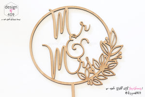 Mr & Mrs Round Floral Wreath Cake Topper (other colour choices available)